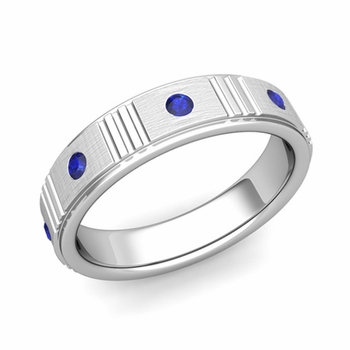 Geometric Sapphire Wedding Anniversary Ring in 14k Gold Brushed Ring, 5mm