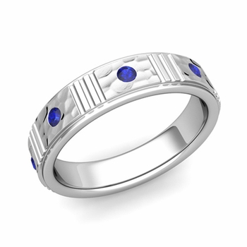 Geometric Sapphire Wedding Anniversary Ring in 14k Gold Hammered Ring, 5mm