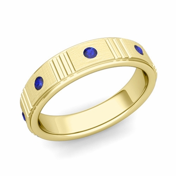 Geometric Sapphire Wedding Anniversary Ring in 18k Gold Brushed Ring, 5mm