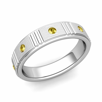 Geometric Yellow Sapphire Wedding Ring in 14k Gold Brushed Ring, 5mm
