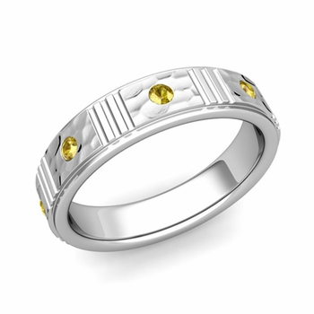 Geometric Yellow Sapphire Wedding Ring in 14k Gold Hammered Ring, 5mm