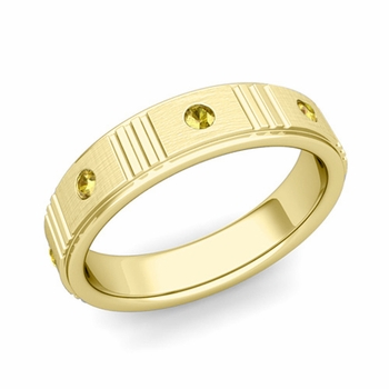 Geometric Yellow Sapphire Wedding Ring in 18k Gold Brushed Ring, 5mm