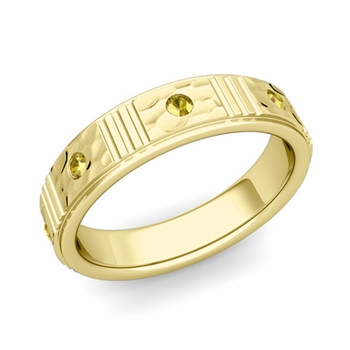 Geometric Yellow Sapphire Wedding Ring in 18k Gold Hammered Ring, 5mm