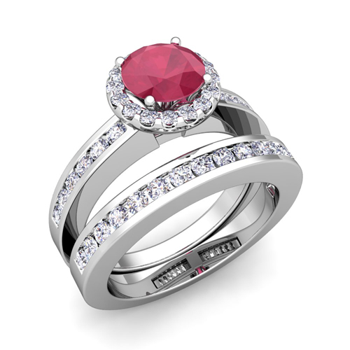Order Now Ships On Monday 11 26order In 14 Business Days Halo Bridal Set Diamond And Ruby Engagement Wedding
