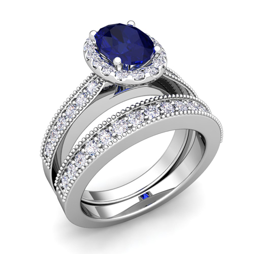 Milgrain Diamond Sapphire Engagement Ring Bridal Set 18k Gold 8x6mm