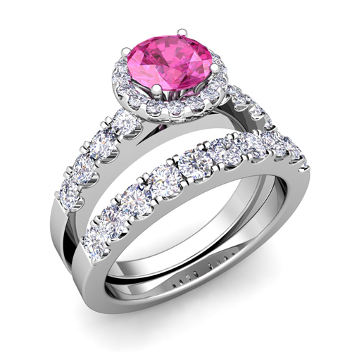 Halo diamond pink sapphire engagement ring bridal set 14k for Sapphire wedding ring sets