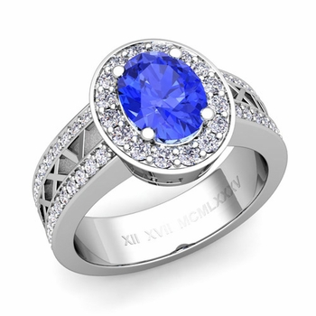 Halo Ceylon Sapphire Engagement Ring in 14k Gold Roman Numeral Band, 7x5mm