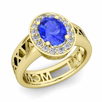 Halo Ceylon Sapphire Engagement Ring in 18k Gold Roman Numeral Band, 7x5mm