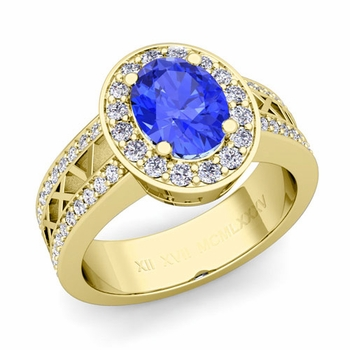 Halo Ceylon Sapphire Engagement Ring in 18k Gold Roman Numeral Band, 8x6mm