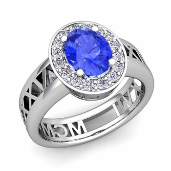 Halo Ceylon Sapphire Engagement Ring in Platinum Roman Numeral Band, 7x5mm