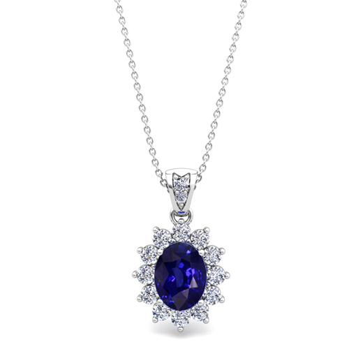 Diamond and Sapphire Necklace 14k Gold Halo Pendant 8x6mm