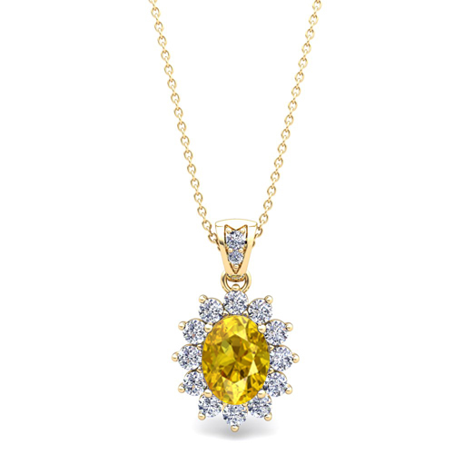 Diamond and yellow sapphire necklace 14k gold halo pendant 8x6mm order now ships on thursday 719order now ships in 5 business days diamond and yellow sapphire necklace in 14k gold aloadofball Choice Image