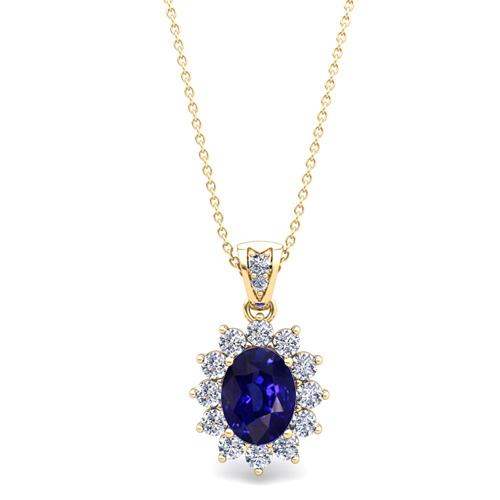 Diamond and sapphire necklace 18k gold halo pendant 8x6mm order now ships on friday 713order now ships in 5 business days aloadofball Choice Image