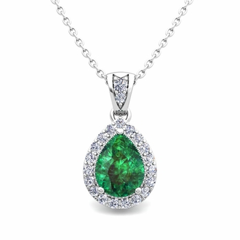 Halo Diamond and Pear Emerald Necklace in 14k Gold Drop Pendant