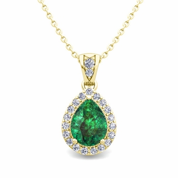 Halo Diamond and Pear Emerald Necklace in 18k Gold Drop Pendant