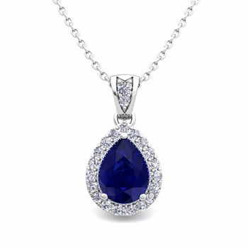 Halo Diamond and Pear Sapphire Necklace in 14k Gold Drop Pendant