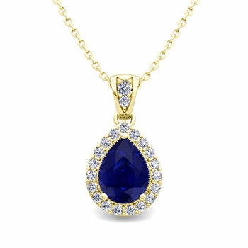 Halo Diamond and Pear Sapphire Necklace in 18k Gold Drop Pendant