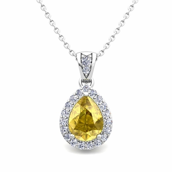 Halo Diamond and Pear Yellow Sapphire Necklace in 14k Gold Drop Pendant