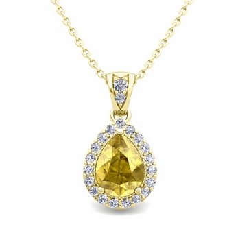 Halo Diamond and Pear Yellow Sapphire Necklace in 18k Gold Drop Pendant