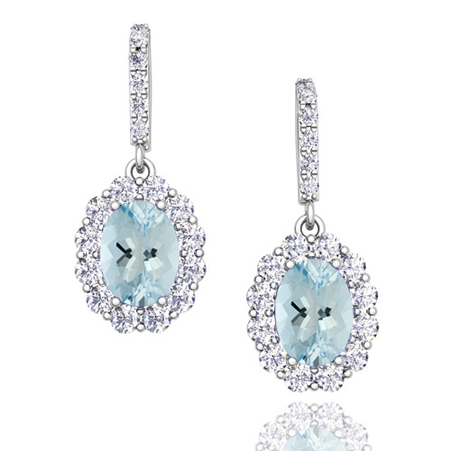 Order Now Ships On Friday 12 28order In 14 Business Days Halo Diamond And Aquamarine Drop Earrings