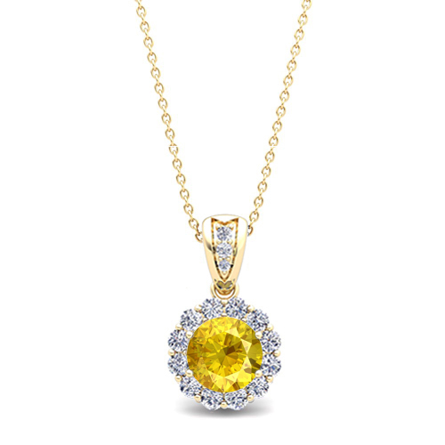 Diamond and yellow sapphire pendant in 14k gold halo necklace 6mm order now ships on thursday 104order now ships in 14 business days diamond and yellow sapphire pendant aloadofball Image collections