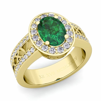 Halo Emerald Engagement Ring in 18k Gold Roman Numeral Band, 7x5mm