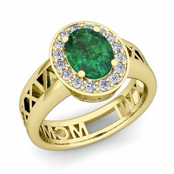 Halo Emerald Engagement Ring in 18k Gold Roman Numeral Band, 9x7mm