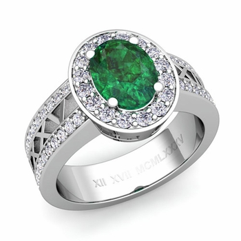 Halo Emerald Engagement Ring in Platinum Roman Numeral Band, 7x5mm