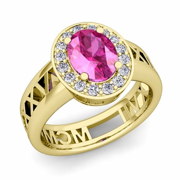 Halo Pink Sapphire Engagement Ring in 18k Gold Roman Numeral Band, 7x5mm