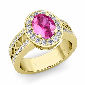 Halo Pink Sapphire Engagement Ring in 18k Gold Roman Numeral Band, 8x6mm