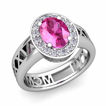 Halo Pink Sapphire Engagement Ring in Platinum Roman Numeral Band, 7x5mm