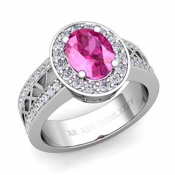 Halo Pink Sapphire Engagement Ring in Platinum Roman Numeral Band, 8x6mm