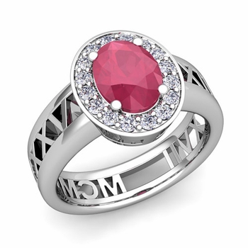 Halo Ruby Engagement Ring in 14k Gold Roman Numeral Band, 7x5mm