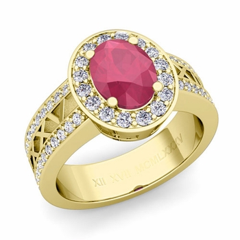 Halo Ruby Engagement Ring in 18k Gold Roman Numeral Band, 7x5mm