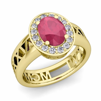 Halo Ruby Engagement Ring in 18k Gold Roman Numeral Band, 9x7mm
