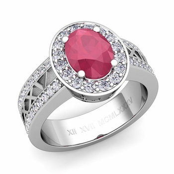 Halo Ruby Engagement Ring in Platinum Roman Numeral Band, 7x5mm