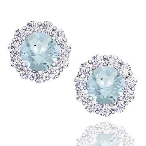 Order Now Ships On Wednesday 9 12order In 14 Business Days Halo Diamond And Aquamarine Earrings