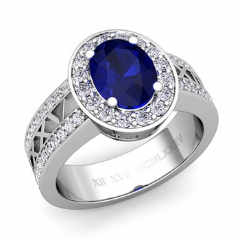 Halo Sapphire Engagement Ring in 14k Gold Roman Numeral Band, 9x7mm