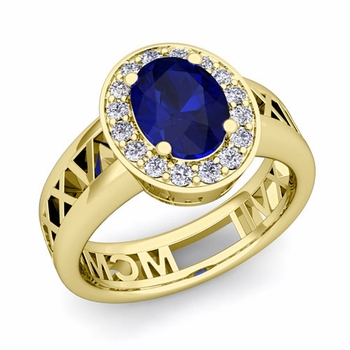 Halo Sapphire Engagement Ring in 18k Gold Roman Numeral Band, 8x6mm