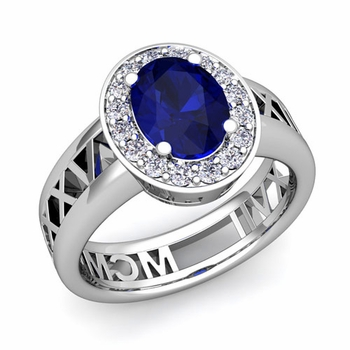 Halo Sapphire Engagement Ring in Platinum Roman Numeral Band, 8x6mm