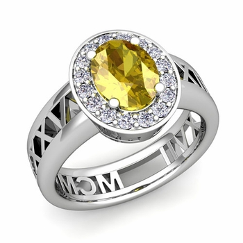 Halo Yellow Sapphire Engagement Ring in 14k Gold Roman Numeral Band, 7x5mm