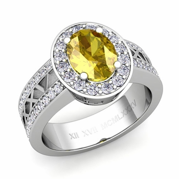 Halo Yellow Sapphire Engagement Ring in 14k Gold Roman Numeral Band, 9x7mm
