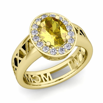 Halo Yellow Sapphire Engagement Ring in 18k Gold Roman Numeral Band, 8x6mm