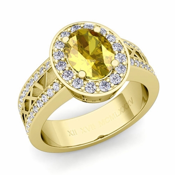 Halo Yellow Sapphire Engagement Ring in 18k Gold Roman Numeral Band, 9x7mm