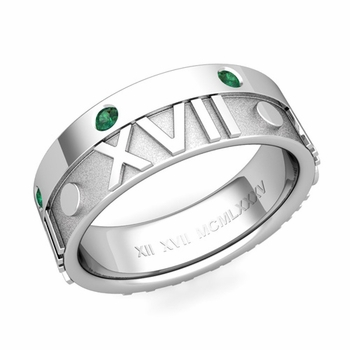 Harmony Roman Numeral Emerald Wedding Band in 14k Gold, 7mm