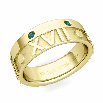 Harmony Roman Numeral Emerald Wedding Band in 18k Gold, 7mm