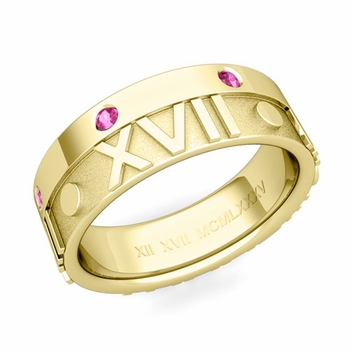 Harmony Roman Numeral Pink Sapphire Wedding Band in 18k Gold, 7mm