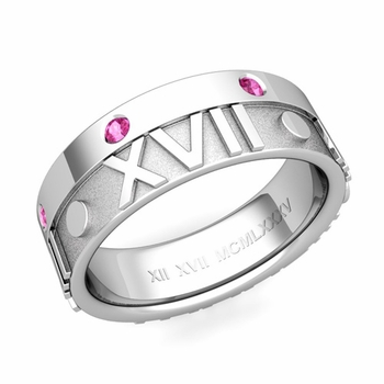 Harmony Roman Numeral Pink Sapphire Wedding Band in Platinum, 7mm