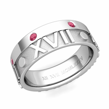 Harmony Roman Numeral Ruby Wedding Band in 14k Gold, 7mm