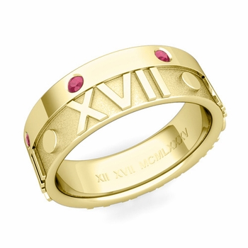 Harmony Roman Numeral Ruby Wedding Band in 18k Gold, 7mm